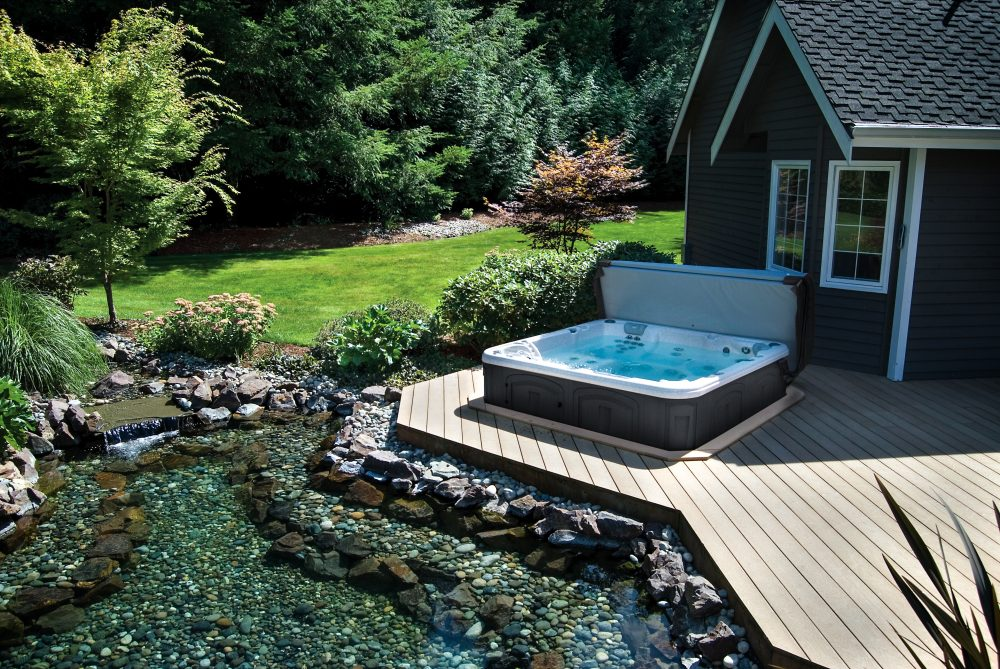 hot tub and backyard scene
